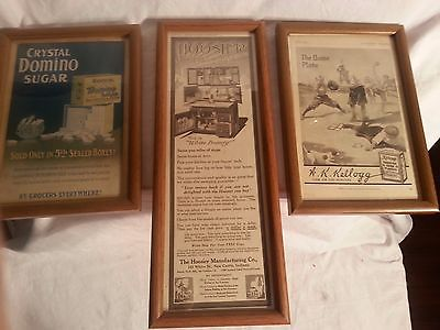 Vintage Framed Advertising Domino Sugar, Hooster Kitchen Cabinet, and Kellogg's