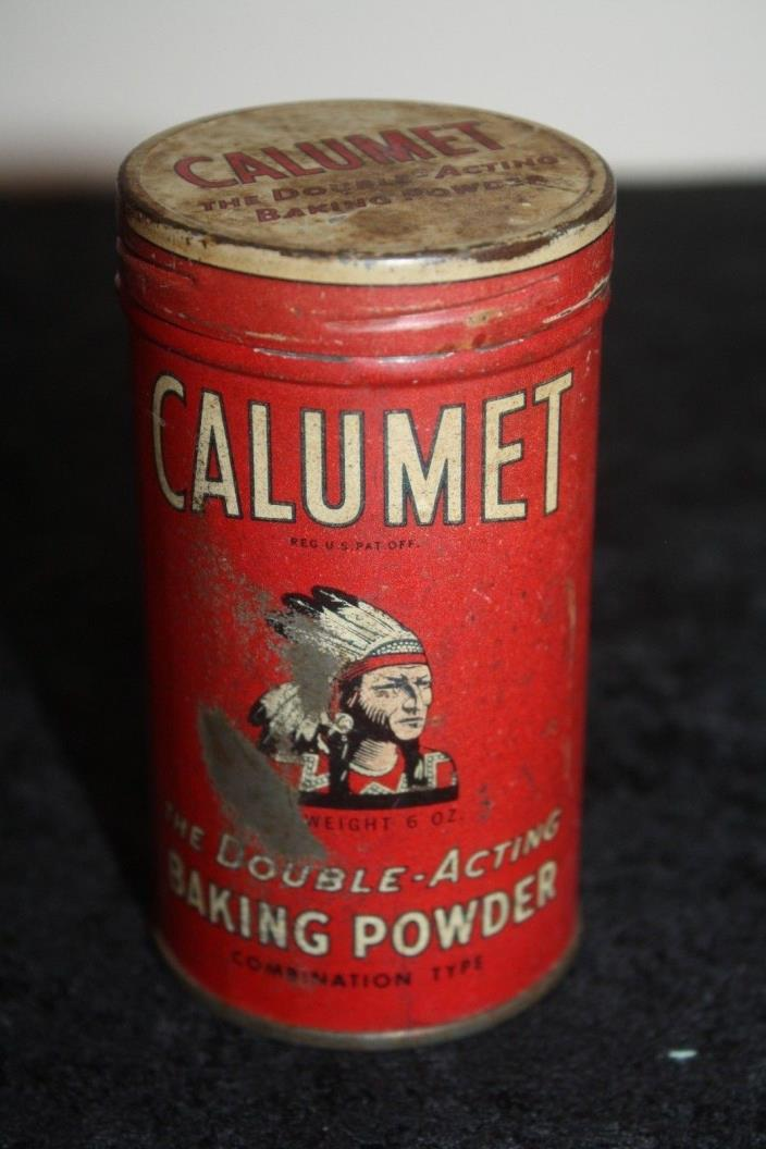 VINTAGE ANTIQUE EARLY CALUMET THE DOUBLE ACTING BAKING POWDER 6 OZ TIN