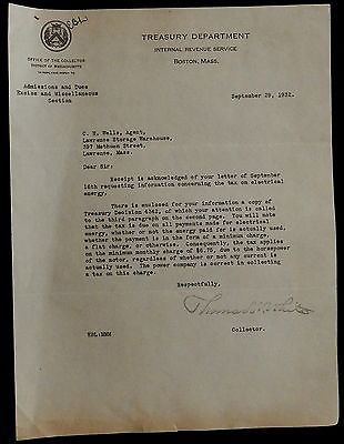 Letterhead TREASURY DEPARTMENT  IRS Boston OFFICE OF COLLECTOR September 29 1932