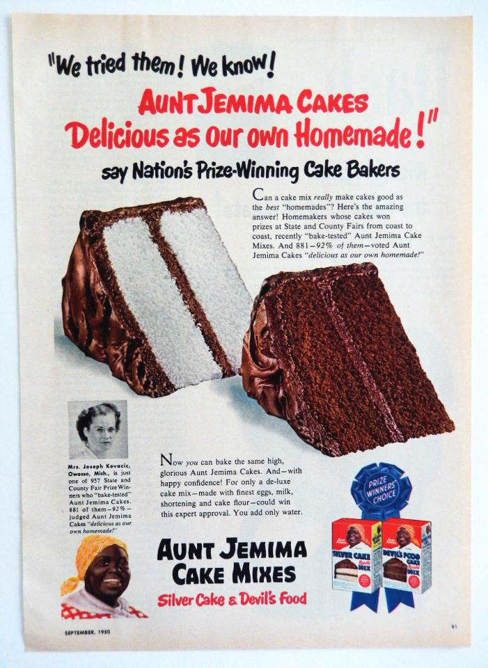Vintage 1950 Aunt Jemima cake mix retro advertisement print ad art