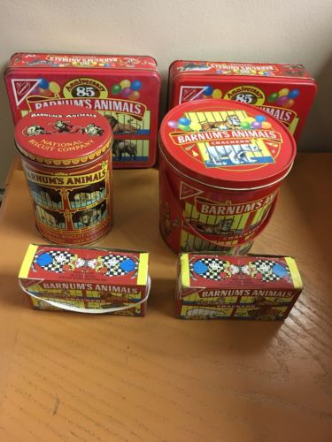 Barnum's Animals Crackers Boxes, 85th Anniversary Tins, Bucket & Round Tin Lot 6