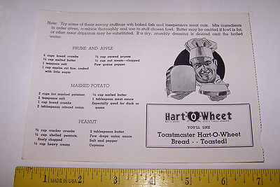 Old TOASTMASTER HART O WHEAT BREAD Ad & Recipes