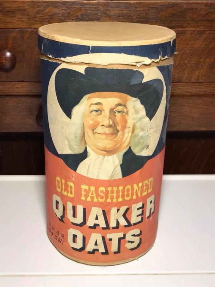 Vintage Quaker Oats Cardboard Oatmeal Container