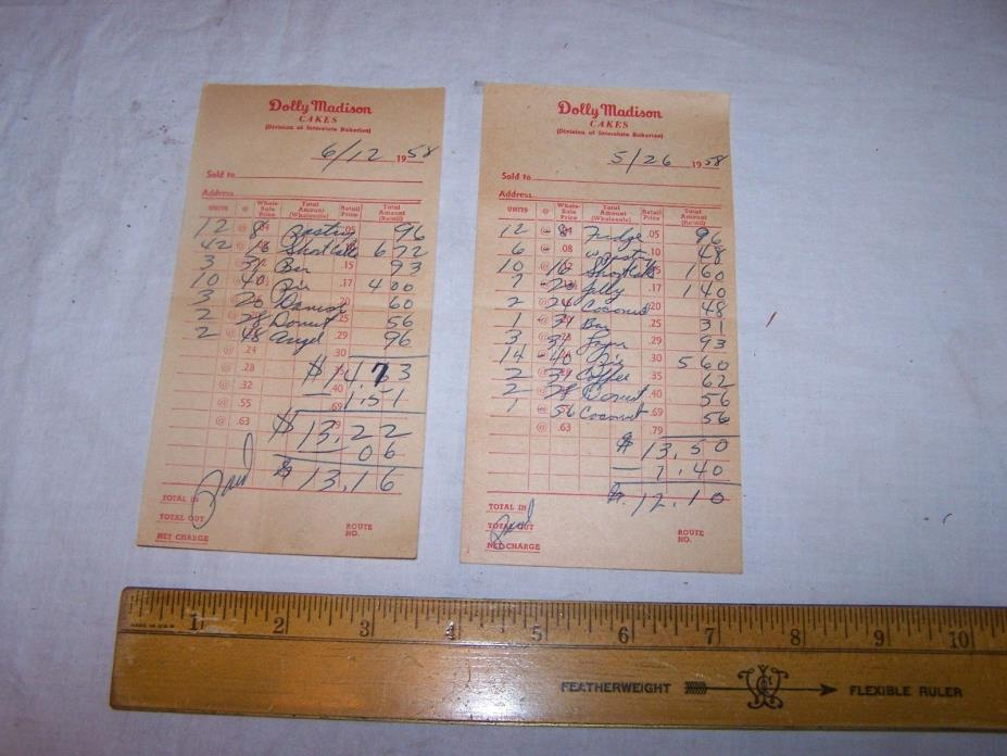 2 Vintage 1958 DOLLY MADISON Invoices CAKE