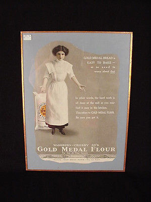 1918 MAGAZINE PRINT AD WASHBURN CROSBY GOLD MEDAL FLOUR ART glass picture vintag