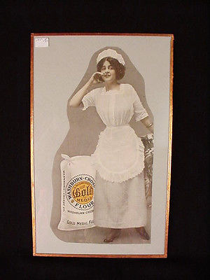 1918 OLD MAGAZINE PRINT AD, WASBURN CROSBY GOLD MEDAL FLOUR ART glass picture