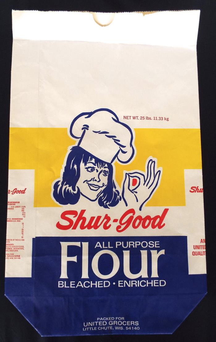 Vintage Shur-Good 25 Lb All Purpose Flour Bag United Grocers Little Chute WI