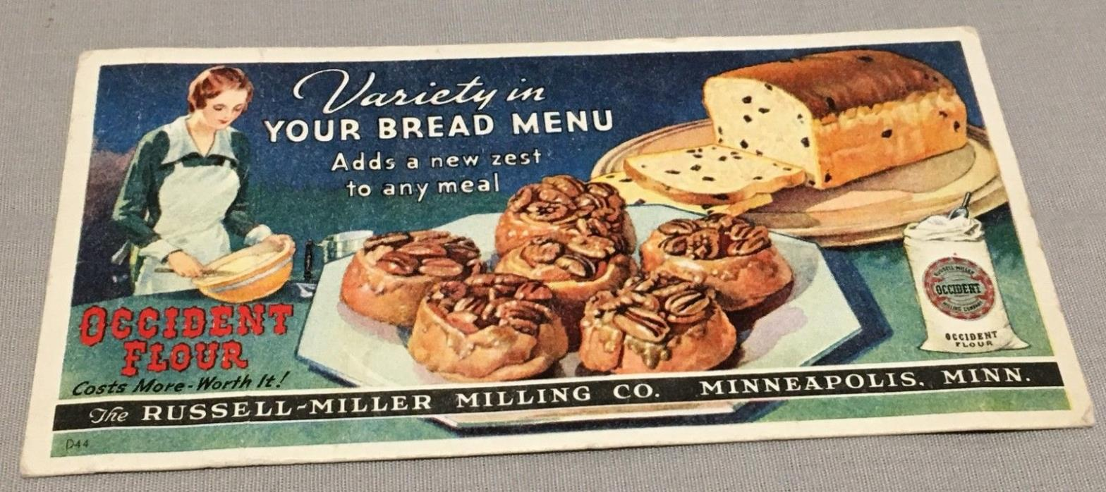 Occident Flour MN Bread Menu blotter Russell Miller Milling Co #Collectible