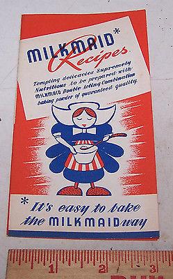 Vintage MILKMAID American BAKING POWDER Recipe Pamphlet TERRE HAUTE INDIANA