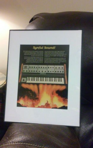 Framed 1981 Crumar Stratus synthesizer keyboard vintage photo print ad