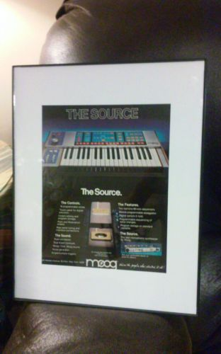 Framed 1983 Moog The Source synthesizer keyboard vintage photo print ad