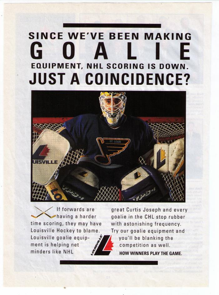 1990 Curtis Joseph Cujo Louisville Hockey Equipment Vintage Print Advertisement