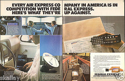 1986 2 Page Print Ad of Federal Express FedEx Delivery Service