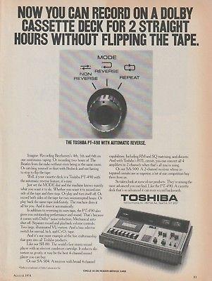 Toshiba - PT-490 Cassette Deck - Original Magazine Ad -1974 (NW)
