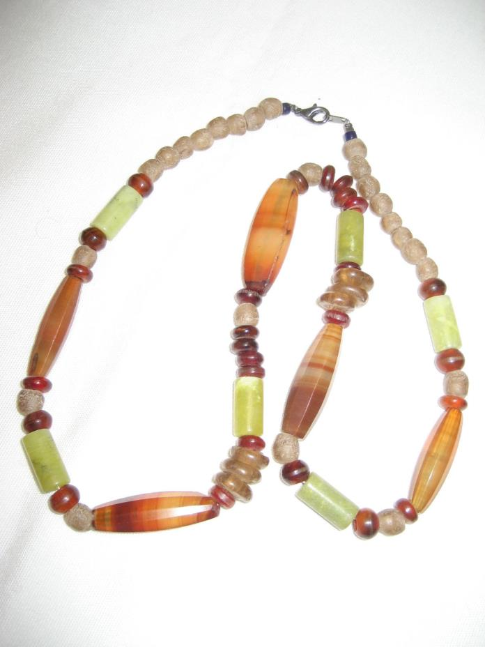ANTIQUE IDAR-OBERSTEIN FACETED CARNELIAN NECKLACE + JADE! STRUNG TO BE WEARABLE!