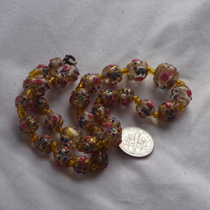Rare antique Necklace Crystal core Venetian Glass Fancy Wedding Cake Beads Fanci