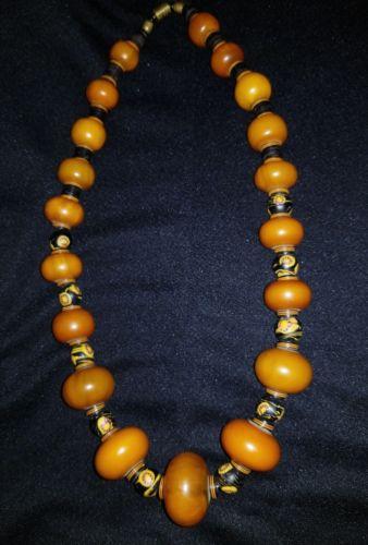 Antique Butterscotch Amber Bakelite Big Shape beads necklace,,beautiful?