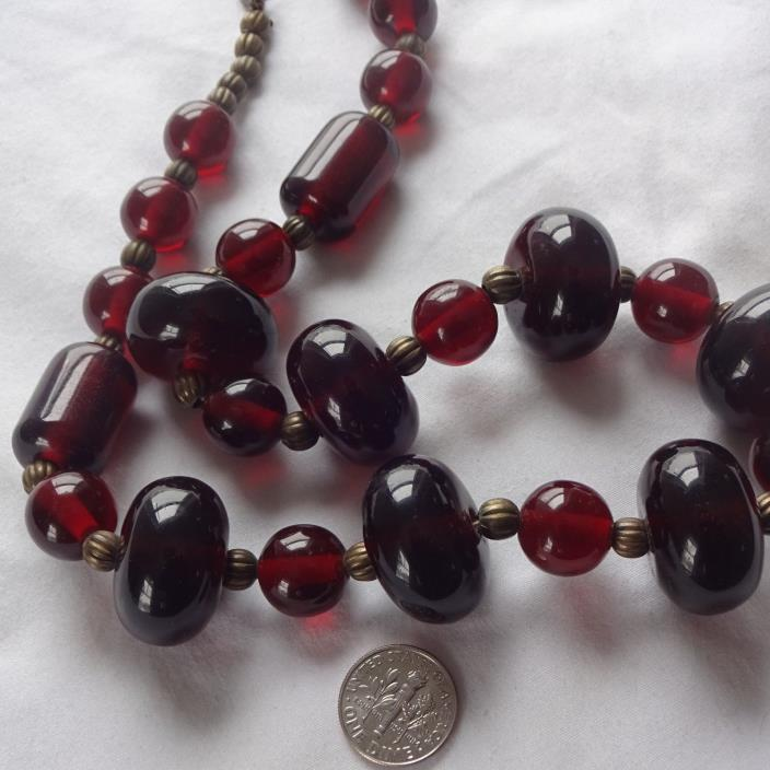 Old Faux Cherry Amber drilled Plastic beads with brass Mellon beads
