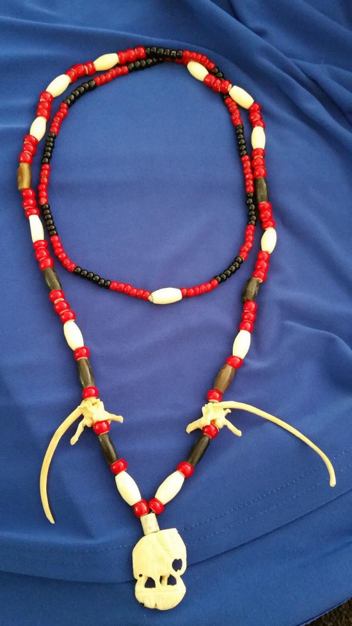 Vintage Necklace Red Glass White heart beads & Natural Bovine Bone Totem Tribal