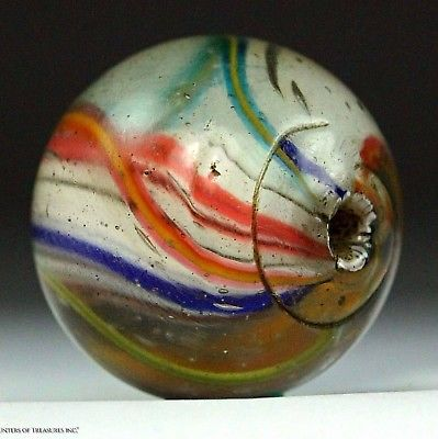 Rare Antique European German Marble Old Glass Trade Bead 1800's 21 mm
