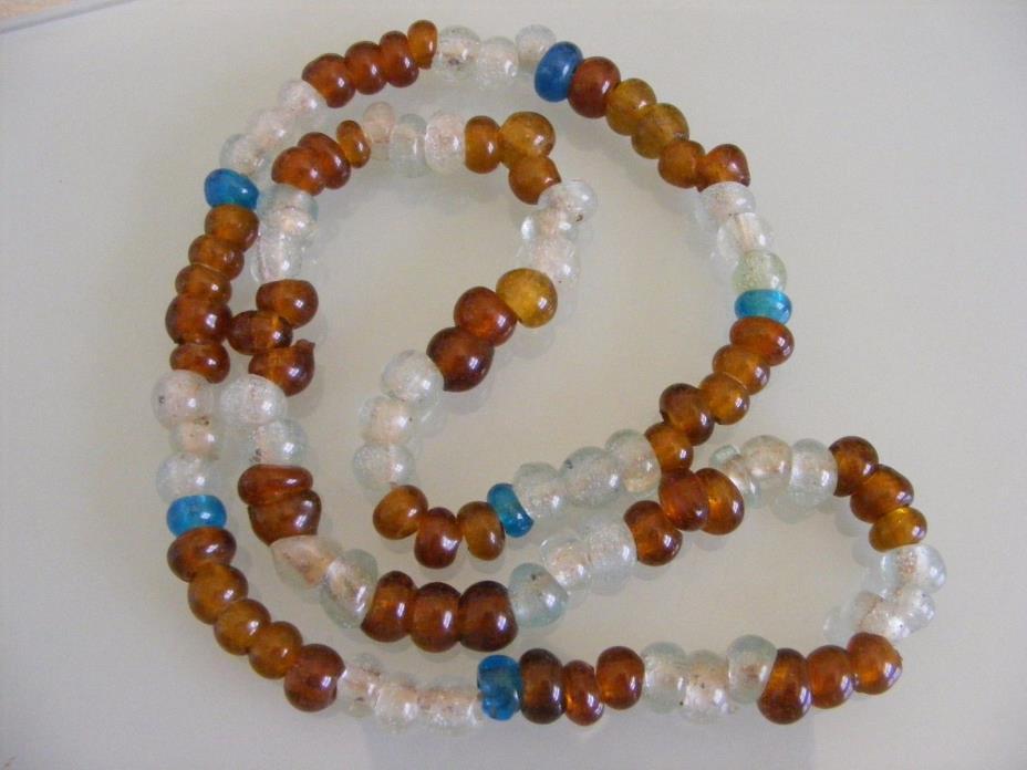 African Trade Irregular Crystal Root Beer Aqua Blue Recycled Glass Bead Strand
