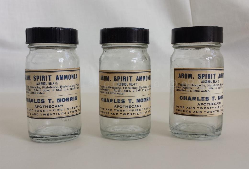 LOT antique 3pc EMPTY APOTHECARY BOTTLE phila pa CHARLES T NORRIS ammonia spirit