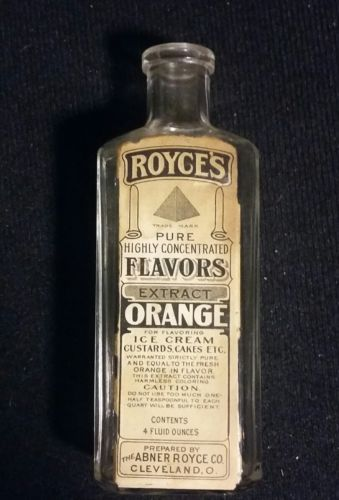 ANTIQUE ABNER ROYCE PURE FRUIT FLAVORS ORANGE EXTRACT BOTTLE -1890s  4oz