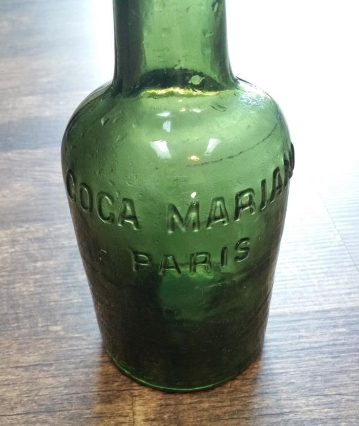 COCA MARIANI MEDICINAL TONIC COCAINE LACED DRINK BOTTLE 1880'S APPLIED TOP