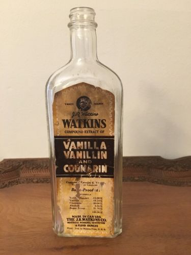 Rare Watkins Clear Glass Bottle Of Vanilla Vanillin And Coumarin