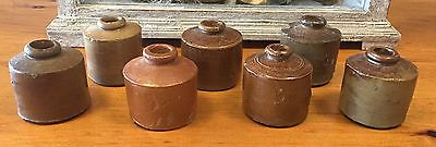 Lot of 7 - Antique Old 19th Century Brown Small Stoneware Ink Bottles 2