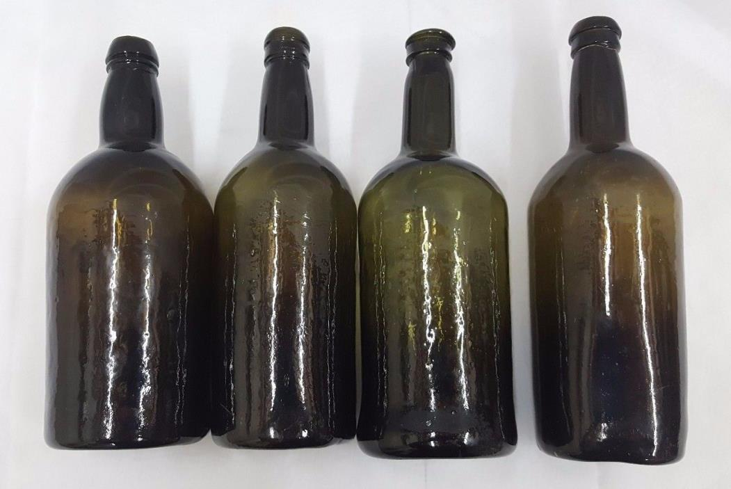 1800's English Liquor Beer Gin Bottles Set of Four 4