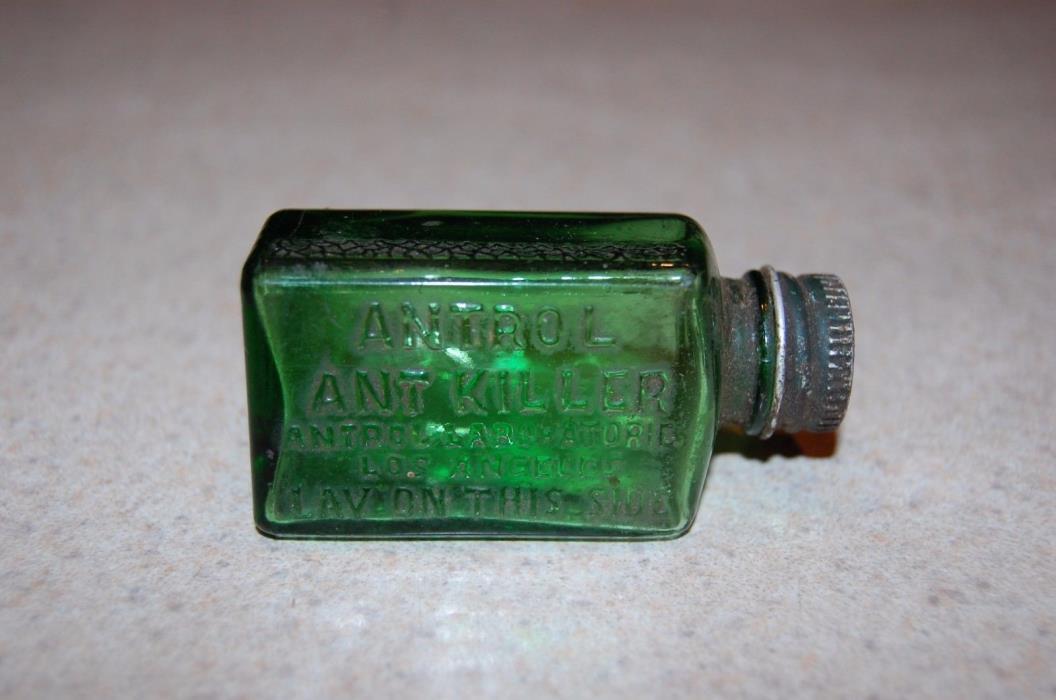 antique bottle c1920 Antrol Ant Killer / Poison Bottle / Emerald Green  with lid