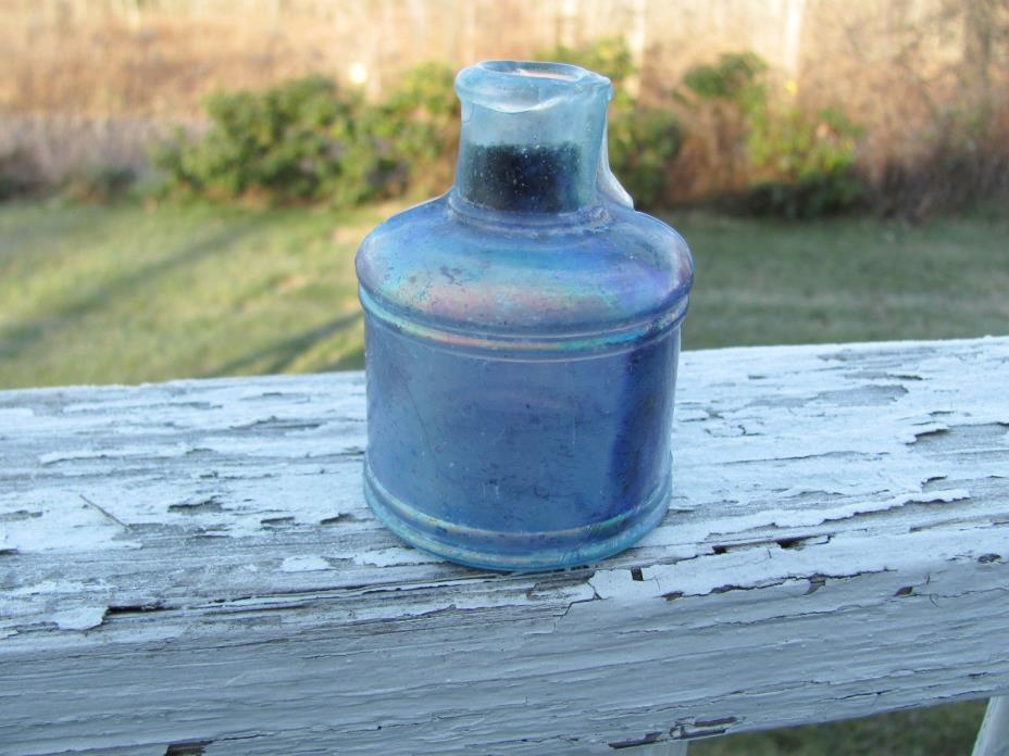 Early Civil War Era Aqua Glass Rolled Top Ink Bottle Military