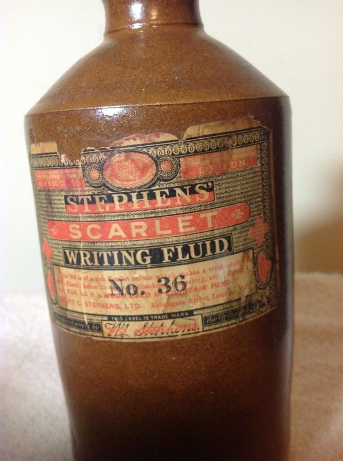 Stephens' Scarlet Writing Fluid No 36 Stoneware Bottle; Original  Label 7+
