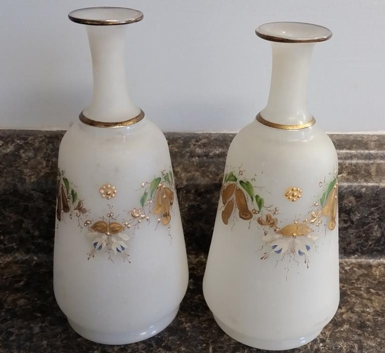 2 Victorian Enamel Painted Satin Glass Pontil Barber Bottles, Bellflowers & Gold