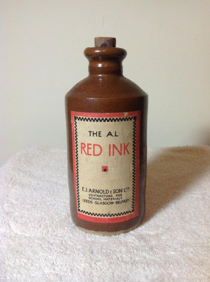 The A.I. RED INK, by E.J. Arnold & Son Stoneware Pottery Bottle, Original Label