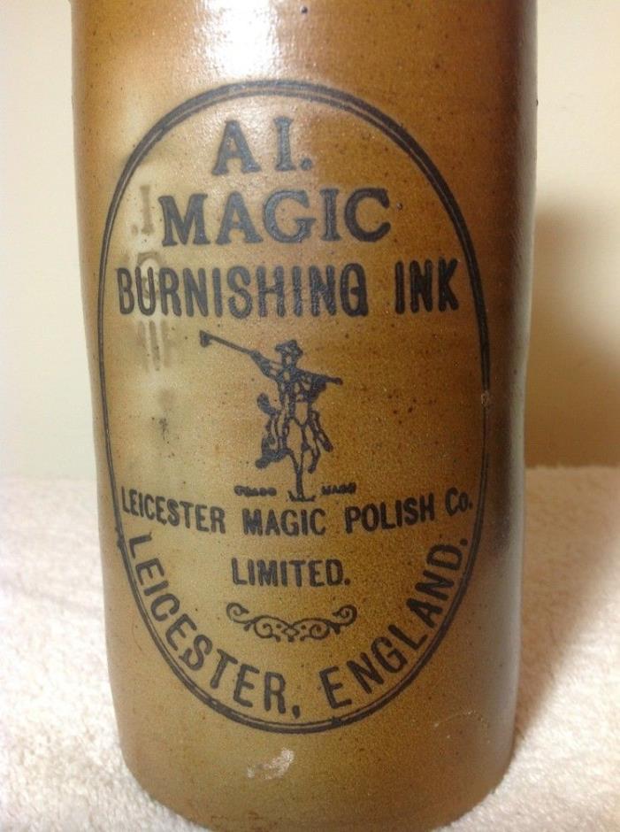 A.I. Magic Burnishing Ink Stoneware Pottery Bottle; Original Label; 8 3/4