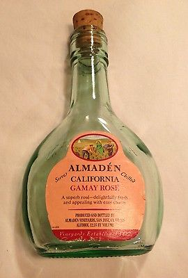Almadén Pony Wine Bottle 187ml With Cork -Label Intact- Gamay Rosé-Vintage