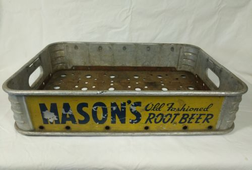Vintage Mason's Old Fashioned Root Beer Carrier Case Metal Crate Advertising