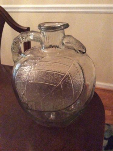 Vintage White House clear glass apple vinegar bottle jug Leaf Design