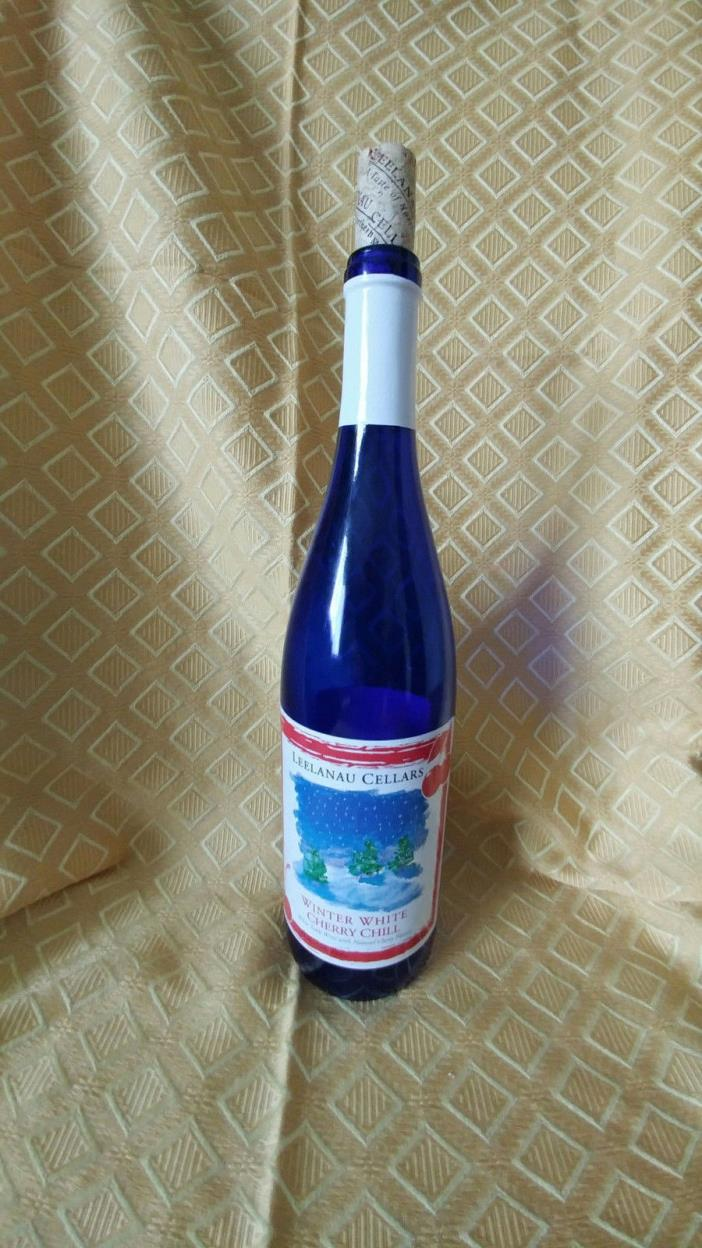 Cobalt Blue Empty Wine Bottle For Crafting Or Display With Cork