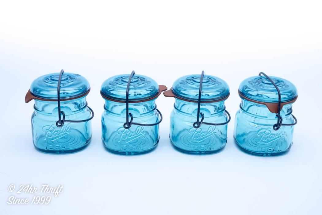 Vintage Ball Ideal Eagle 1/2 Pint Wire Top Blue Jars Set (4) w/Rubber Seal