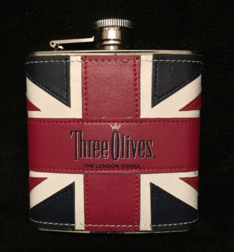 Three Olives (Empty) London Vodka Stainless Steel 6oz Flask British Souvenir  L2