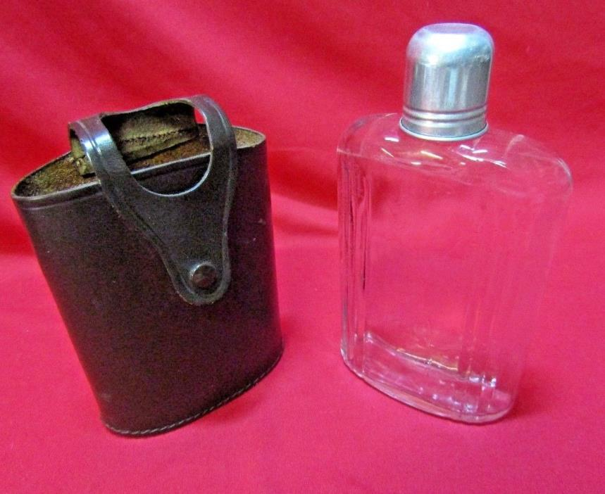 Vintage Herz Egland Glass Liquer Flask w/ Aluminum Cup & Leather Case