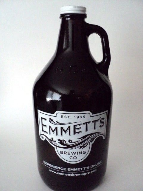 Emmett's Brewery Large Brown Glass  Beer Bottle 64 oz Dundee Illinois