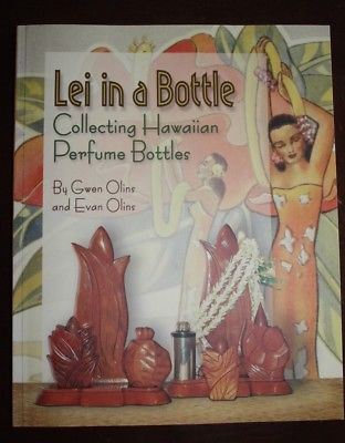 LEI IN A BOTTLE COLLECTABLE HAWAIIAN PERFUME BOTTLES KOA WOOD MILO HAWAII BOOK
