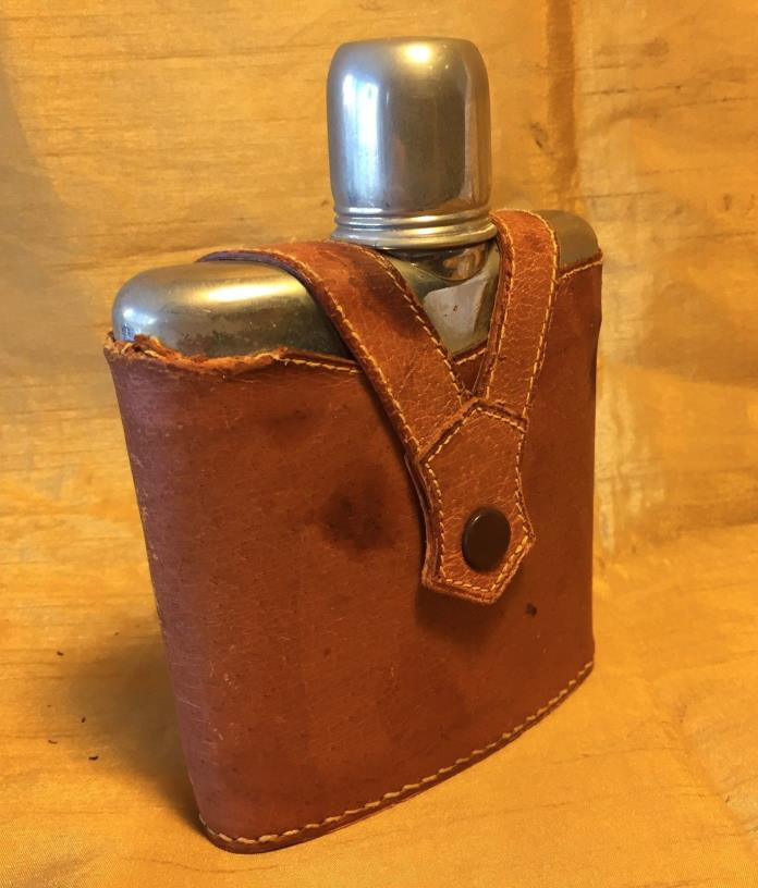 Antique English Stitched Pigskin & Chrome Hip Flask w Glass Inner Bottle