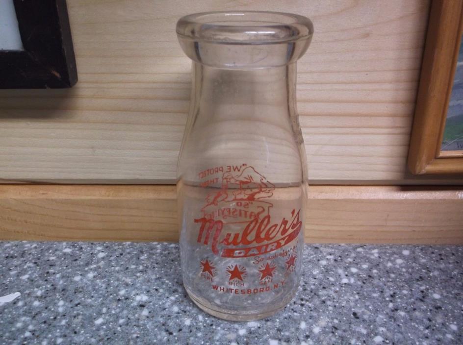 Muller's Dairy Half Pint Milk Bottle Whitesboro N.Y.
