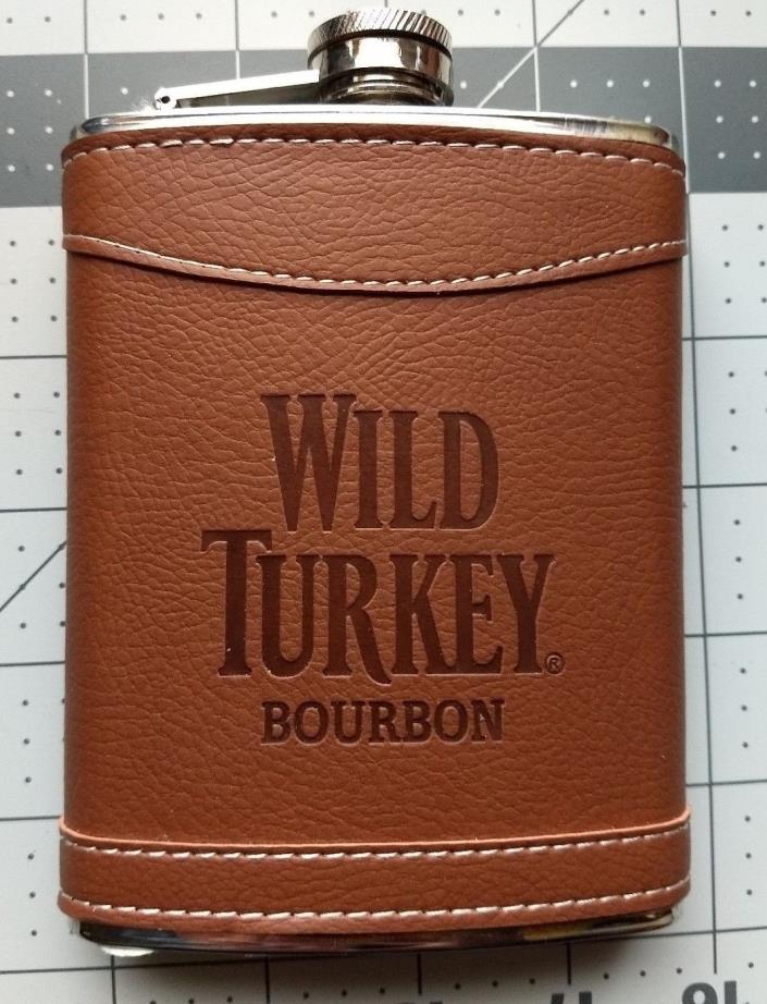 Wild Turkey empty Bourbon Brown Faux Leather Stainless Steel Flask