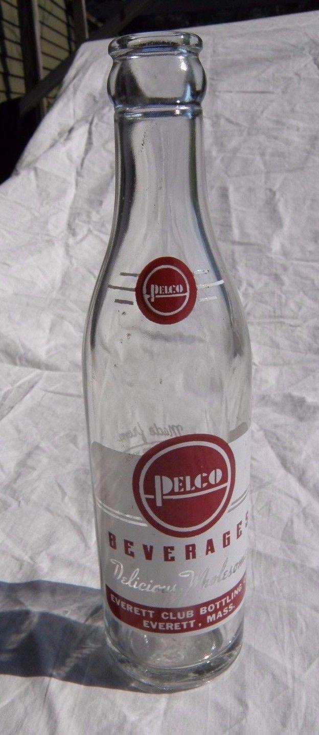 Antique 1957 EVERETT MASSACHUSETTS Soda Bottle Pelco Beverages ART DECO Ma Mass